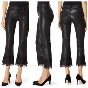 J Brand Selena Mid-Rise Cropped Lace Boot Cut Pant